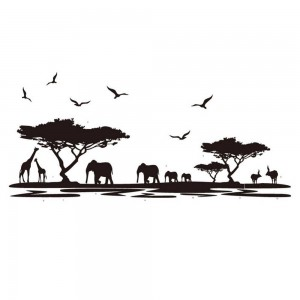 African Safari Wall Decals Jungle Animals Silhouette Vinyl Wall Art decoration