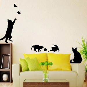 Cat Butterfly Animal Black Silhouette DIY Removable Wall Decal