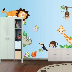 Cute Cartoon Zoo Animals Nursery Wall Decal Stickers Baby Boy Girl Room Bedroom Wall Art Decor