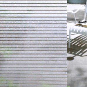 Frosted Stripe Privacy Window Film Static Cling Non Adhesive Glass Decorative Film