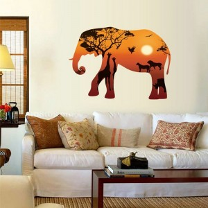 Golden Sunset Elephant Silhouette Vinyl Wall Sticker