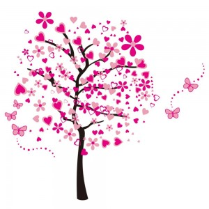 Large Pink Cartoon Heart Flower Tree butterfly Wall Decal Removable Decorative Vinyl Wall Sticker
