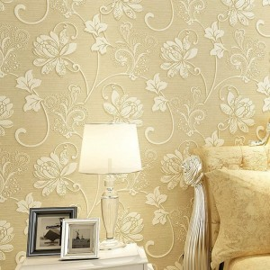 Modern Embossed 3D Floral Flocked Wallpaper Non-Woven Wallcovering, Beige