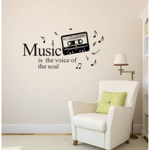 Music Wall Decal Cassette Tape Musical Quote Music Notes Vinyl Stickers Wall art Home Decor