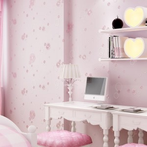 Pink Small Flower Embossed Wallpaper Teenage Girl Bedroom Living Room Mural Decor