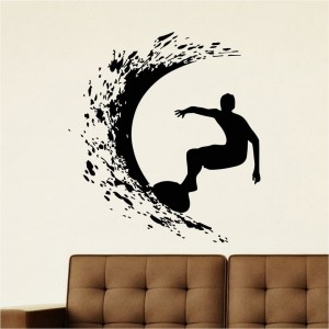 Surf Wall Decal Sticker Surfer Surfing Sport Silhouette Wall Art Decoration