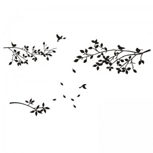 Tree Branches Wall Decal With Birds And Leaves Art Vinyl Stickers For Home Decor