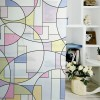 Geometric Stained Glass Window Privacy Film Static Cling Glass Door Film