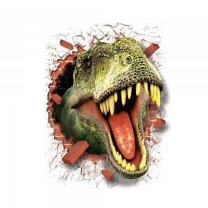 3D Dinosaur Wall Sticker T-rex Head Breaking Through The Wall Art Decor Decal