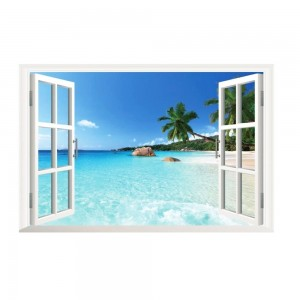 3D Tropical Beach Window View Landscape Home Decor Removable Wall Vinyl Sticker
