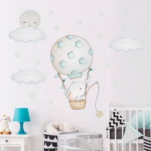 Baby Elephant Hot Air Balloon With Moon Clouds And Stars Wall Decal Stickers Vinyl Wall Art Baby Boy Girl Nursery Decor