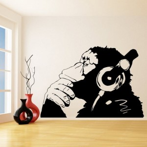 Banksy Vinyl Wall Decal Thinking Monkey With Headphones Street Graffiti Wall Art Mural Sticker