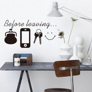 Before Leaving Checklist Vinyl Wall Sticker DIY Wall Decor