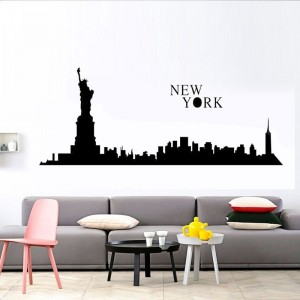 New York City Skyline Silhouette Wall Art Sticker