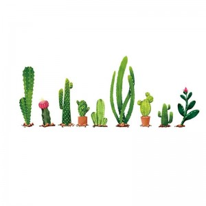 Cactus Wall Sticker Green Plant Wall Decal DIY Mural Art For Home Living Room Kids Bedroom Nursery Wall Decor