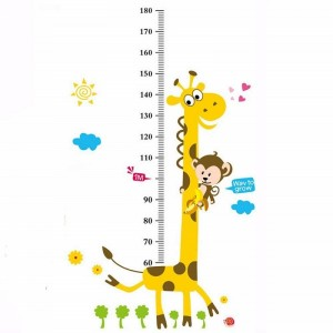 Cartoon Animal Monkey Giraffe Growth Chart Wall Decal Height Measurement Chart Wall Sticker Baby Nursery kids Bedroom Wall Decoration