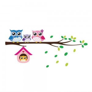 Cartoon Animal Owls Family On A Branch Wall Art Sticker Decal Kids Room Nursery Decor