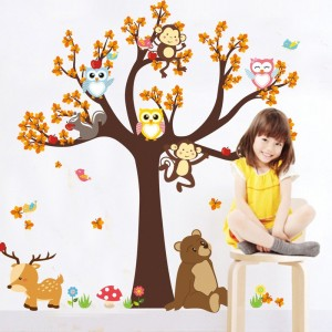 Cartoon Jungle safari tree Animal Wall Stickers