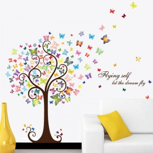 Colorful Butterfly Tree Wall Decal Stickers Vinyl Wall Art Decoration