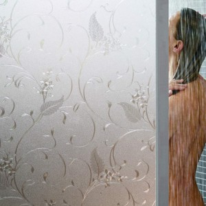 Decorative Frosted Window Film Vine Patterned Window Treatments Static Cling Glass Film Non Adhesive Privacy Window Film