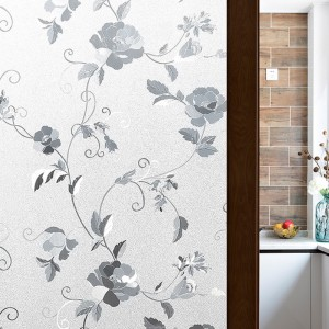 Decorative Peony Flower Pattern Window Privacy Film Static Cling Frosted Glass Film