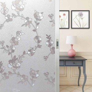 Decorative Privacy Window Film Winter Jasmine Flower Patterned Frosted Glass Film Static Cling Window Decals