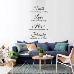 Faith Love Hope Family Wall Quote decals Inspirational Saying Wall Art Vinyl Lettering Stickers