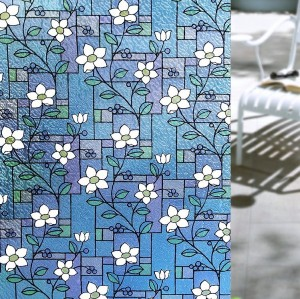 Static Cling Flower Decorative Window Film Stained Glass Privacy Film
