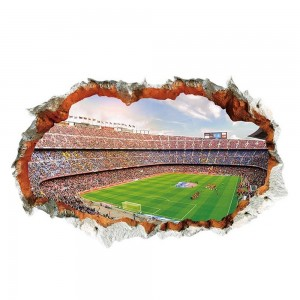 Football Stadium Smashed Wall 3D Effect Vinyl Wall Sticker
