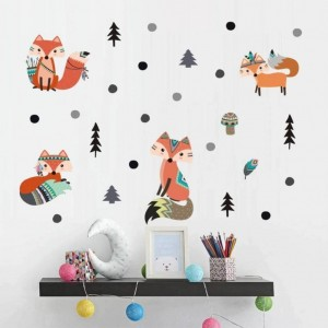 Fox Wall Stickers Cartoon Woodland Animal Pine Tree Wall Decals Art For Kids Room Nursery Decor