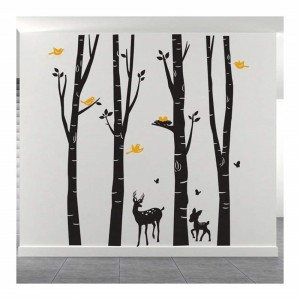 Giant Birch Trees Wall Decals With Deer And Birds Vinyl Wall Art Removable Mural Wall Decal Stickers For Home Living Room Kids Bedroom Baby Nursery Decoration