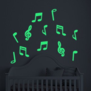 Glow In The Dark Music Notes Removable Wall Stickers Vinyl Wall Art Decals Diy Home Decor
