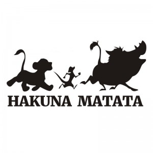 Hakuna Matata Wall Decal Lion King Simba Timon and Pumbaa Silhouette Wall Art Vinyl Sticker For Kids Baby Nursery Room Decor