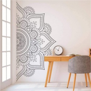 Half Mandala Flower Wall Decal Vinyl Sticker Headboard Master Bedroom Boho Bohemian Wall Art Decor Yoga Studio Namaste Ornament