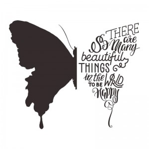 Hand Lettering Quote Butterfly Silhouette Wall Decal Stickers