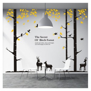 Large Birch Tree Wall Decals Forest With Deer And Birds Vinyl Mural Wall Art Stickers For Home Decor