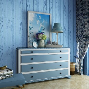 Mediterranean Blue Faux Wood Grain Non-Woven Self Adhesive Wallpaper