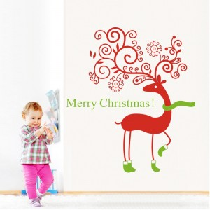 Merry Christmas Reindeer Wall Decal