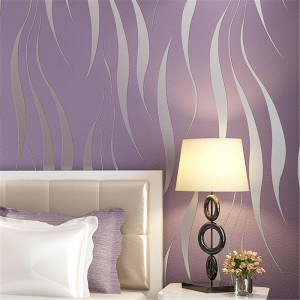 Modern Non-Woven Embossed 3D Wave Flocking Wallpaper Rolls For living room bedroom TV background Wall Covering, Purple