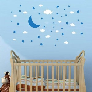 Moon Stars And Clouds Nursery Wall Stickers