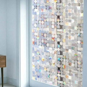 Mosaic Privacy Window Film Non Adhesive 3D Static Decorative Film Rainbow Tint For Glass Windows