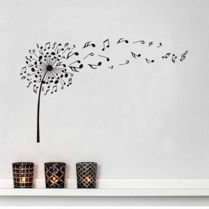 Music Dandelion With Flying Musical Notes Wall Decals