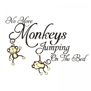No More Monkeys Jumping On The Bed Quote Wall Decal Vinyl Wall Art For Baby Nursery Kids Bedroom Decor