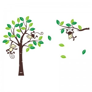 Nursery Wall Decals Monkey Tree And Branch Wall Stickers For Kids Boy Girl Baby Room Decor