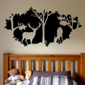 Silhouette Wall Decal Deer In Forest Vinyl Wall Art For Home Decor