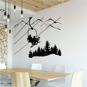 Skiing Wall Decal Skier Ski Lift Chair Mountain Pine Tree Stickers Winter Sports Vinyl Wall Art Diy Wall Decor