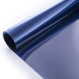 Static Cling Window Tint Film One Way Mirror Film Daytime Privacy Heat Control Solar Reflective Glass Film, Blue & Silver
