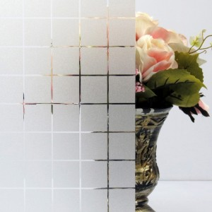 Vinyl Grid Static Cling Frosted Glass Film Privacy Window Film