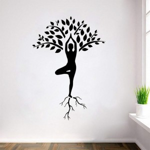 Vinyl Wall Decal Yoga Tree Post Silhouette Sticker Wall Art Decoration