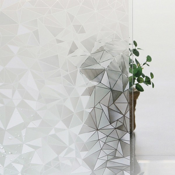 3D Geometric Diamond Pattern Window Film Static Cling Frosted Glass Film Decorative Film For Window